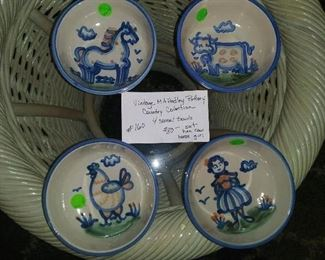 #160        Vintage M A Hadley Pottery - Country Collection cereal bowls. Set of 4.        $80