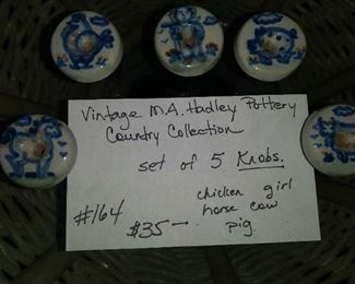 #164         Vintage M A Hadley Pottery - Country Collection Knobs. Set of 5.        $35