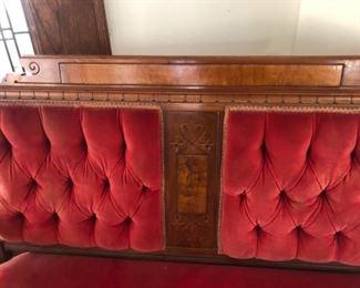 Antique red velvet chaise, loveseat