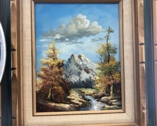 Antique framed oil painting landscape