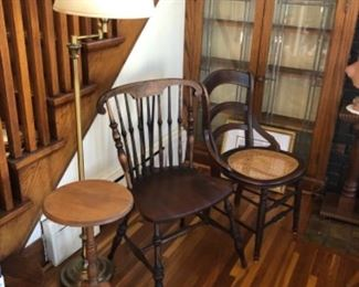 Antique chairs, tables and lamps