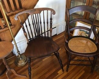 Antique windsor chair, antique cane seat chair