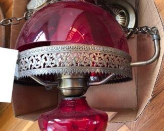 Antique red glass pendant light