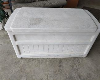 Suncast outdoor storage bin.    46 x 24w x 24h     $42  NOW ... $34