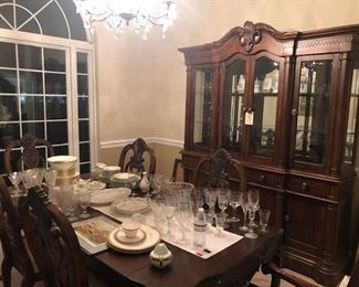 outstanding dining room site, elegant glass, china,