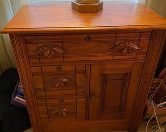 "4- $275 American Antique night cabinet with carved fruits pulls 29""L x 15 ½""D x 31""H 										$275"