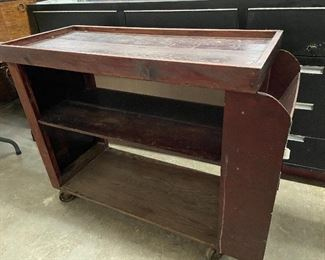 Rolling wooden library cart from the Catholic Diocese of Little Rock