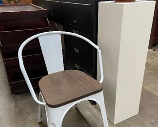 Modern metal chair with wooden seat.  Display pedestal.