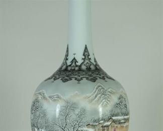 0TH CENTURY Enameled with figures in a winter landscape, iron-red character mark to base (Jingdezhen City Graduate Schools 1960.9)Made by GongYaoTing. Gong Yaoting, male, (1910-1975), from Nanchang, Jiangxi Province, was a Chinese ceramic art master and ceramic artist. He is an influential pastel painting landscape painter in Jingdezhen   Used Condition:Good condition,as photos. Measures:37cm Height ;
