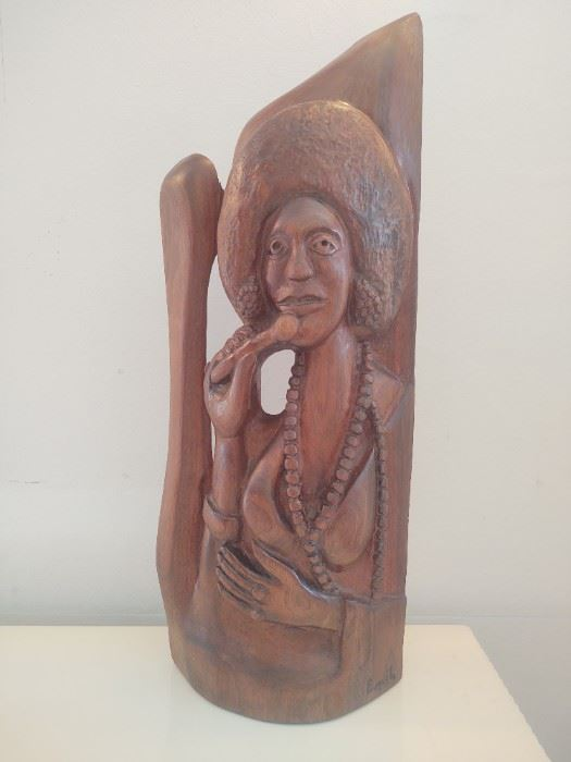 Hand carved wooden sculpture of  lady singer with amazing afro signed Emil