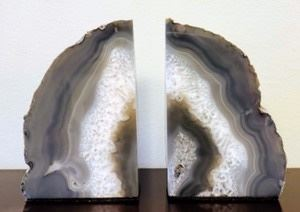 """Geode Bookends. Beautiful set! Each measures 4"""" wide and 6"""" high."""