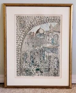 """Amazing Framed Lithograph By Yitzchak Ben Sholmo. Believed to be titled """"Jerusalem Market"""". Signed and numbered piece measures 25.5"""" x 32""""."""