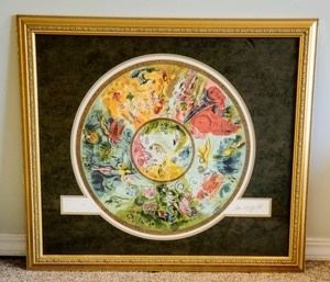 """Beautiful Framed and matted Lithograph By Marc Chagall. Signed and numbered piece depicting the Paris Opera ceiling. Measures 34"""" x 38.5""""."""