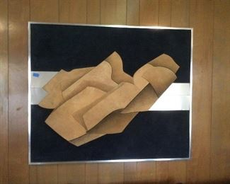 large 70's suede leather sculpted art
