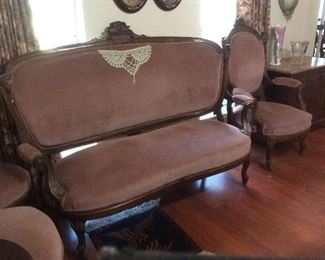 victorian settee and side chairs