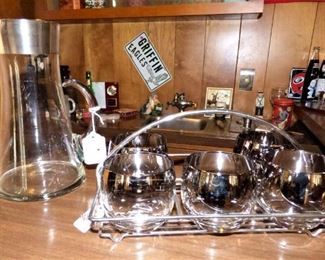 "Silver luster ""Roly Poly"" glasses in rack, Silver lined pitcher"