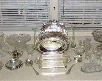 Silver Plate serving pieces, crystal serving pieces