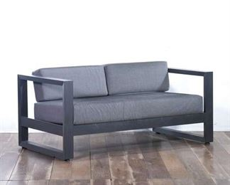 Gray Fabric Cushions, Metal Frame Outdoor Patio Loveseat