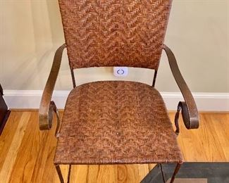 """$1,200 - Set of four forged iron and woven leather seat and back chairs. 38""""H x 21""""W x 22""""D (seat height 18""""H)"""