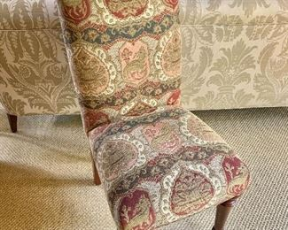"""$395 -   Dragon motif upholstered parsons chair on two castors.   37.5""""H x 18.5""""W x 21""""D (seat height 21""""H)"""