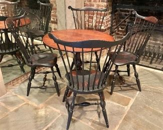 "$1,600 - Set of four Chris Harter fan back windsor chairs.  38.5""H x 26.5""W x 18.5""D (seat height 18""H).  $795 - Tilt-top round wood pedestal table.  28.5""H x 36""D"