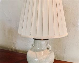 """$225 - Crackle glaze ceramic lamp with hand made box pleat silk shade.  Tested and working.  29""""H x 17""""D"""