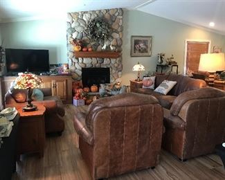 Leather furniture sofa, love seat, two recliners