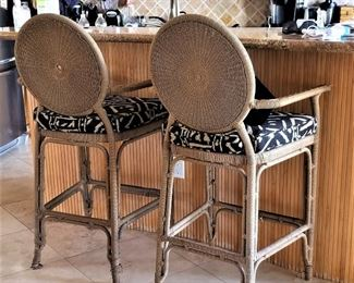 Wicker bar stools.