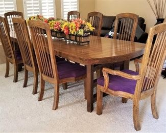 Beautiful dining table with leaves and chairs