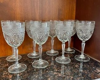 """CLEARANCE !  $2.00 NOW, WAS $16.00.....................Set of 8 Glasses 7 1/2"""" tall (H051)"""