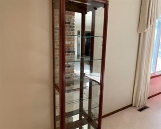 """REDUCED!  $112.50 NOW, WAS $150.00...................Curio Cabinet, Electric Lamp, Beveled Glass 24"""" x 11 1/2"""", 76 1/2"""" tall (H005)"""