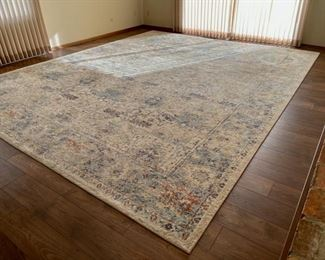HALF OFF!  $800.00 NOW, WAS $1,600.00.....................Anastasia Rug Sand/Light Blue 12' x 15' Excellent Condition (H004)