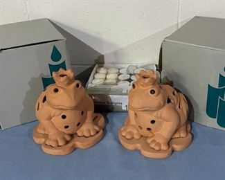 REDUCED!  $12.00 NOW, WAS $16.00...................Party Lite Terra Cotta Frogs with Tea Light Candles  (H163)