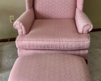 REDUCED!  $75.00 NOW, WAS $100.00...................Wing Back Chair and Footstool (H371)
