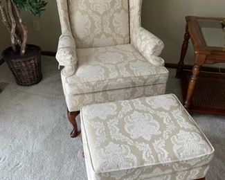 $150.00................Wing Back Chair and Footstool Disque Furniture (H372)