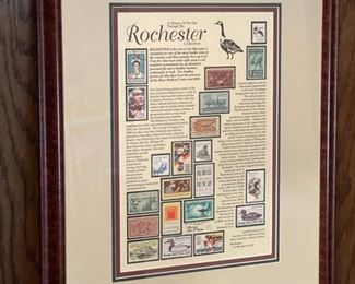 """HALF OFF!  $20.00 NOW, WAS $40.00.....................Framed Rochester Stamps 16"""" x 20"""" (H275)"""