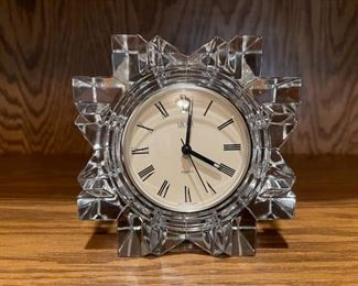 """CLEARANCE !  $6.00 NOW, WAS $30.00....................Mikasa Crystal Clock 5"""" tall (H260)"""