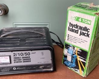 $16.00....................4 ton Hydraulic Jack and Battery Charger (H421)