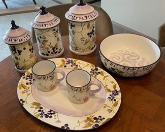 CLEARANCE !  $4.00 NOW, WAS $12.00.................Tracy Porter Sage Tea Collection, Platter is cracked, rest good (H391)