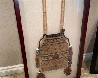 ANTIQUE AFRICAN HANDBAG FRAMED