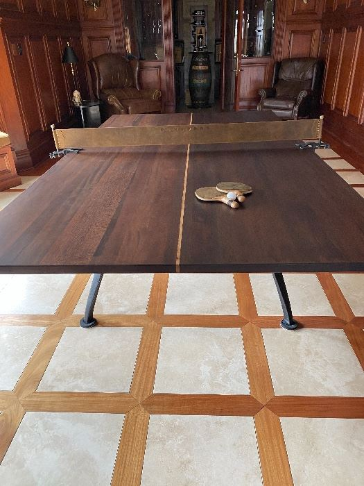 DISTRICT EIGHT SOLID WOOD & BRASS INLAY PING PONG TABLE W/CAST IRON BASE! NET IS TOOLED LEATHER. RETAILS FOR $5100!!!!