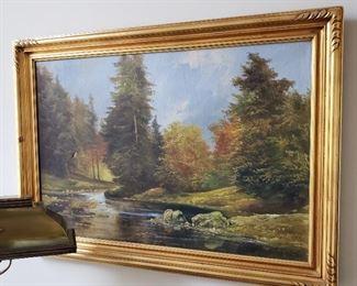 Framed oil painting signed Jos. Kugler