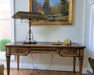 Kargas Furniture Co. Oriental style leather writing desk