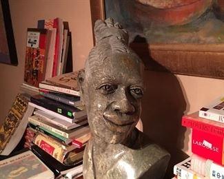 African Shona Zimbabwe Female Verdite Sculpture Bust. Books. Art. Books.