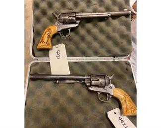 "Pair of Colt SAA ""Peacemaker"" Custom Grip .45 Colt Revolvers w/Holster Belt"