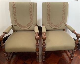 Pair of Grand Hall Chairs - F 1.  Available ONLINE ONLY @ www.scavengersparadise.com                              Please read all Terms & Conditions before purchasing.