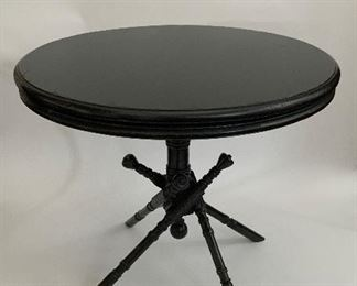 Minton Sidel Ebonized Round Side Table - F4.  Available ONLINE ONLY @ www.scavengersparadise.com                                            Please read all Terms & Conditions before purchasing.
