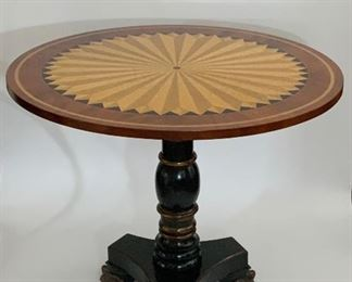 Round Marquetry Side Table - LR 1.  Available ONLINE ONLY @ www.scavengersparadise.com                              Please read all Terms & Conditions before purchasing.