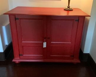 Custom Built Red Storage Cabinet - TV 2.  Available ONLINE ONLY @ www.scavengersparadise.com                                              Please read all Terms & Conditions before purchasing.
