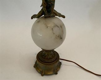 Alabaster Globe Lamp w/Metal School Boy Leap Frogging - CR 5.  Available ONLINE ONLY @ www.scavengersparadise.com                                              Please read all Terms & Conditions before purchasing.